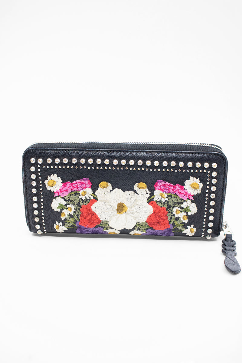 Alexander McQueen Floral Embroidery and Studded Wallet