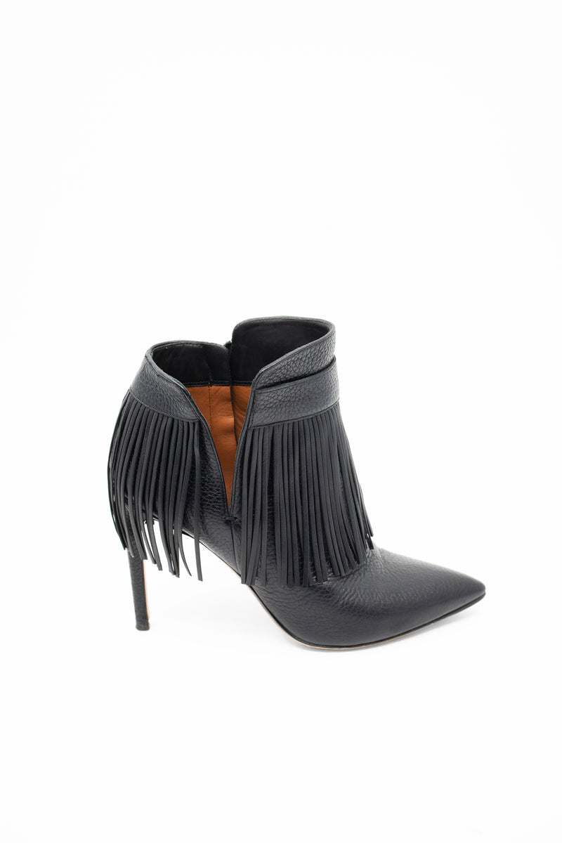 Valentino 'Rockee' Black Leather Bootie with Fringe