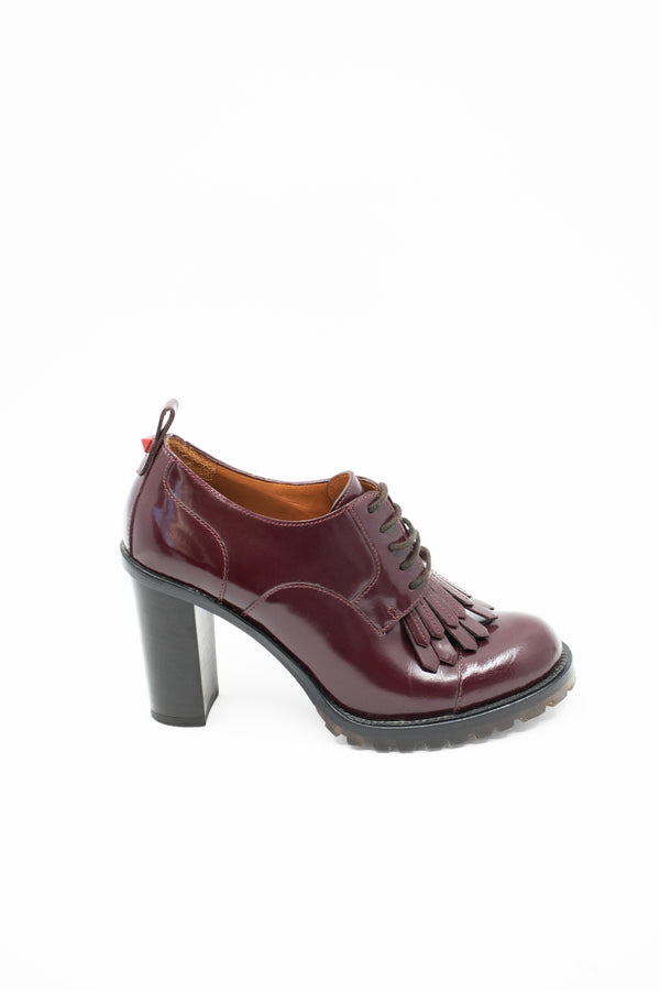 Valentino Burgundy Heeled Oxford Bootie