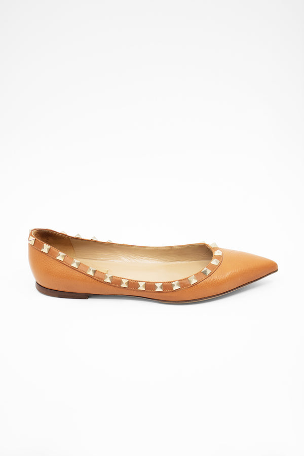 Valentino 'Rockstud' Pointed Toe Leather Flat (Est. retail $775)