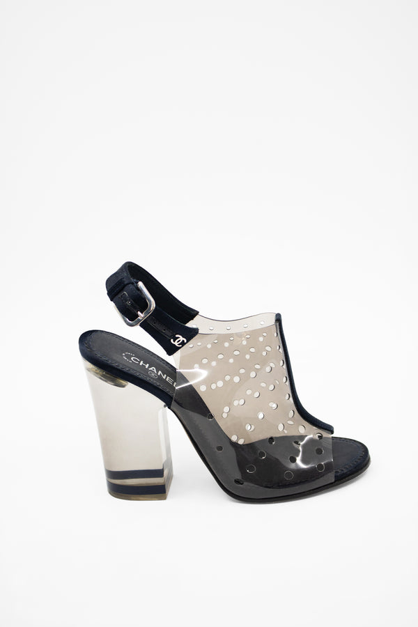 Chanel PVC and Lucite Peep Toe Bootie