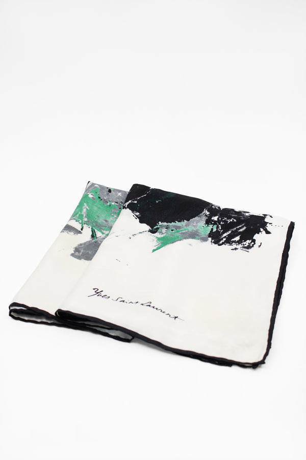 Yves Saint Laurent Abstract Print Silk Scarf in Blues