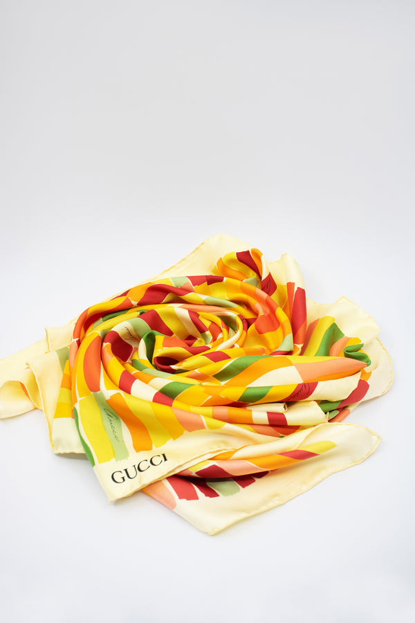 Gucci Yellow Block Print Silk Scarf
