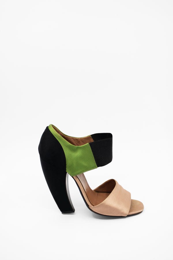 Prada Color-Blocked Satin Banana Heels