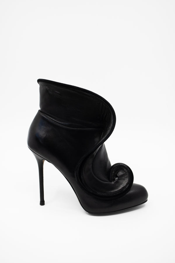 Sergio Rossi Swirl Leather Booties