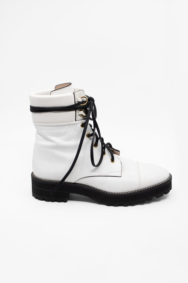 Stuart Weitzman White Leather Combat Boots
