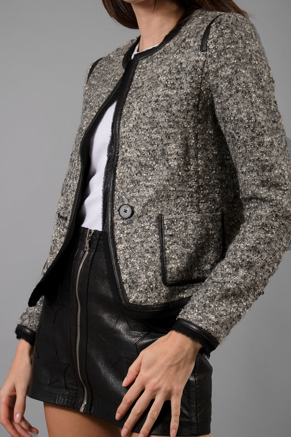 Vince Tweed and Leather Trim Jacket