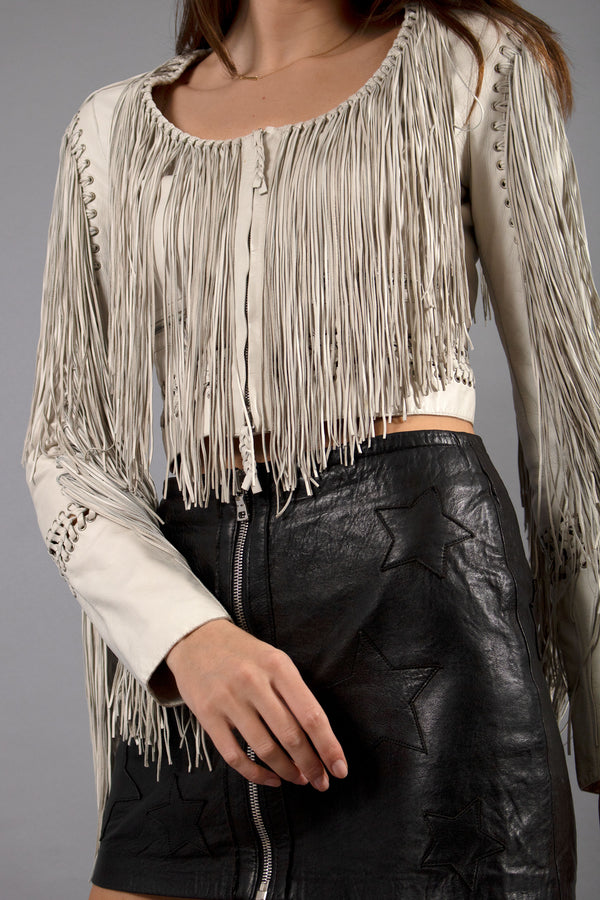 Roberto Cavalli Leather Fringe Jacket