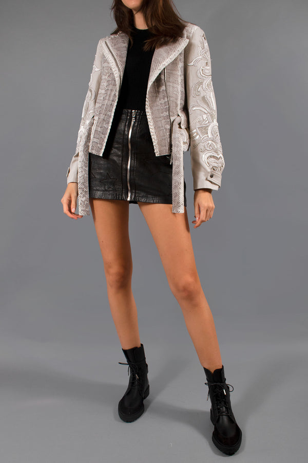 Roberto Cavalli Watersnake and Embroidered Linen-blend Jacket (Est. Retail $2,173)