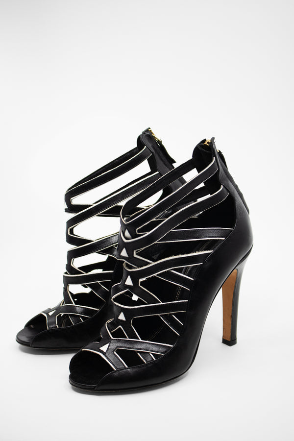 Derek Lam Black Leather Peep-Toe Heels