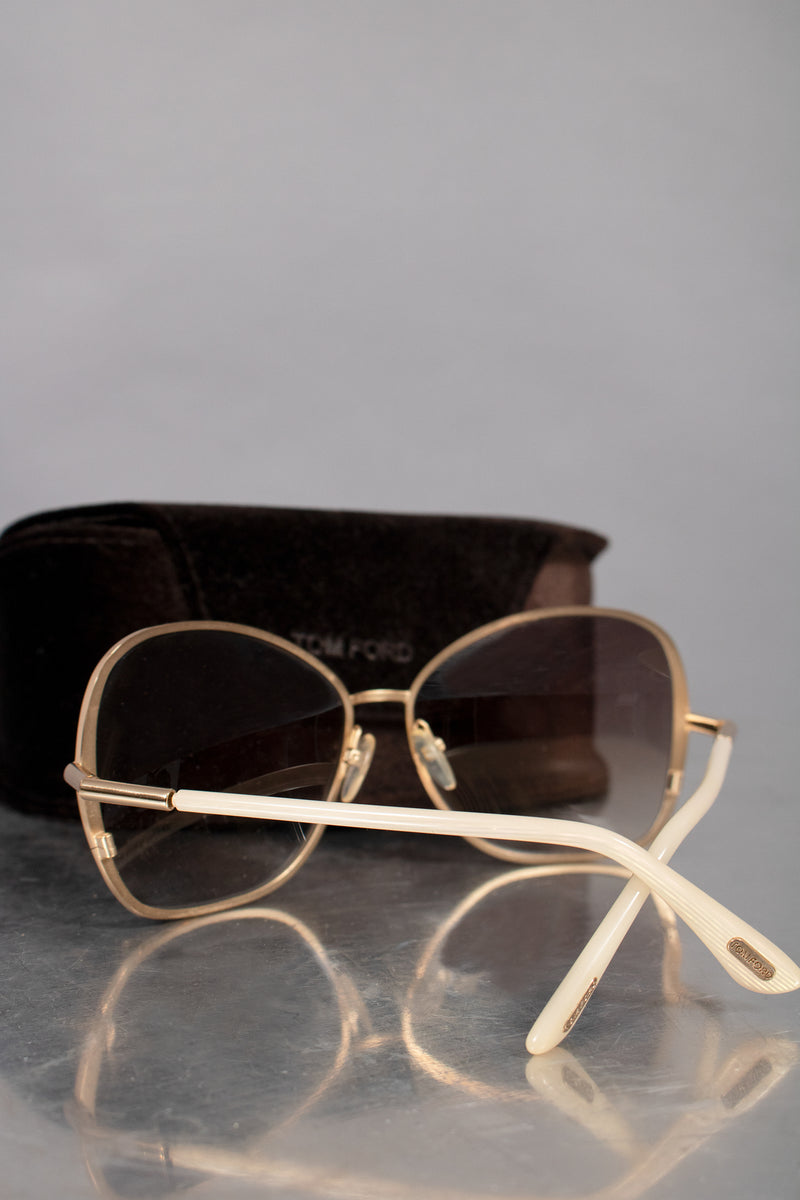 Tom Ford White and Gold Sunglasses