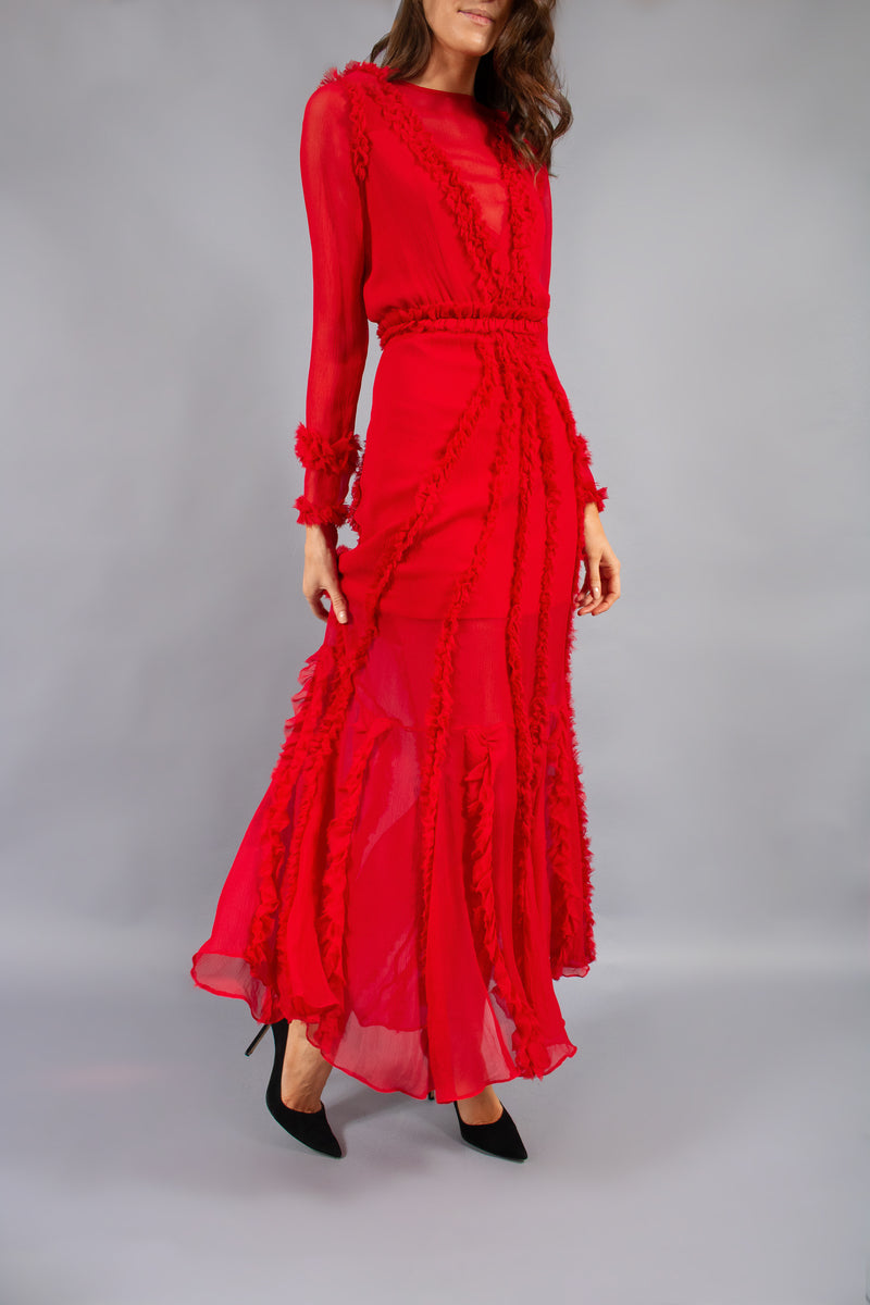 Alexis 'Janine' Red Sheer Gown (Est. Retail $796)