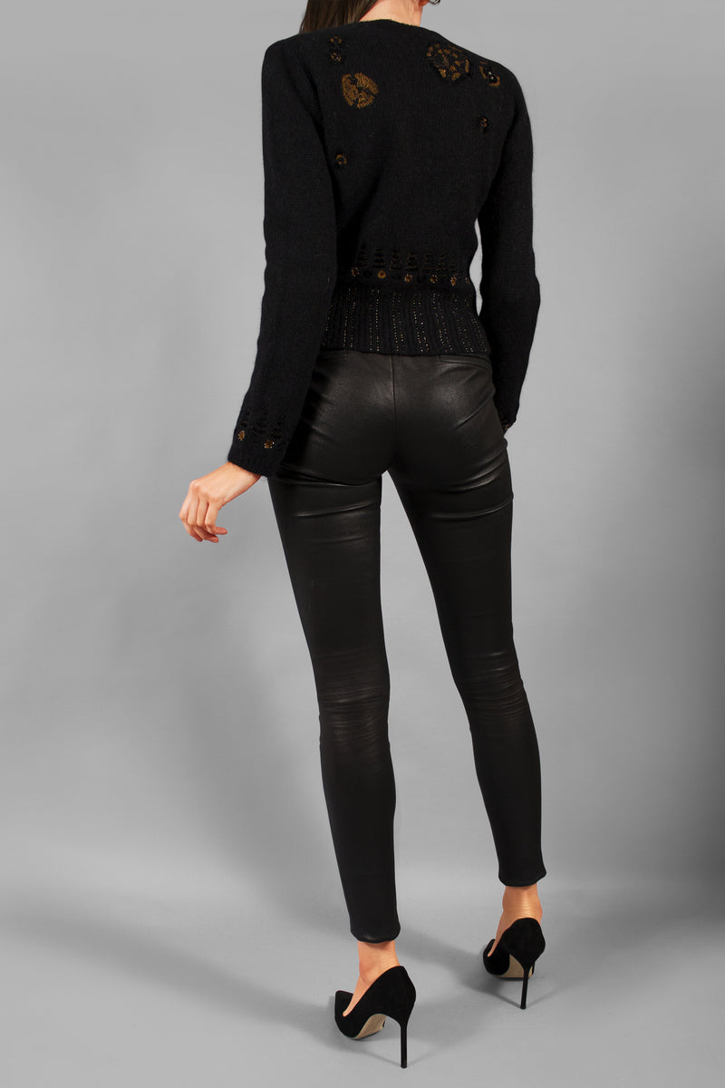 Christian Dior Black Embellished Sweater