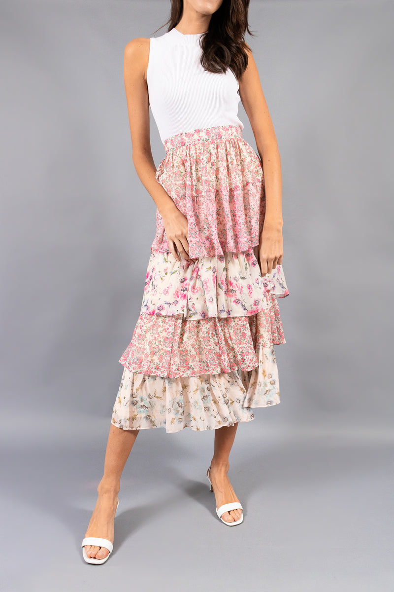 LoveShackFancy 'Carmen' Tiered Floral Maxi Skirt (Est.Retail $355)