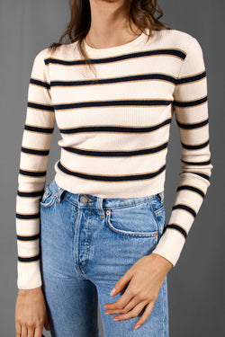 A.L.C. Striped Knit Crop Top