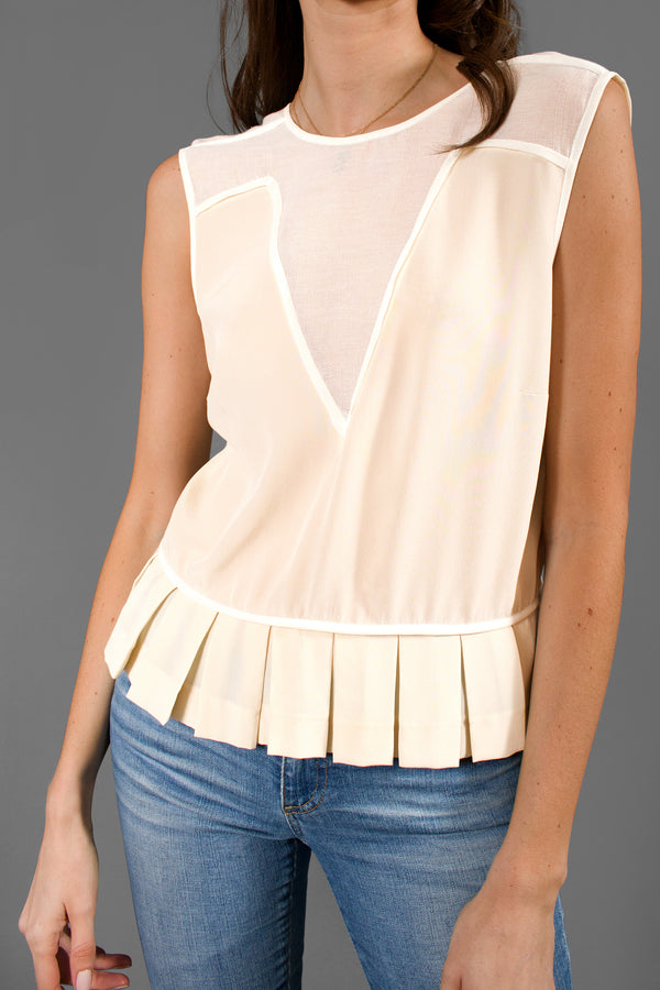 Sandro Silk V-Neck Mesh Top