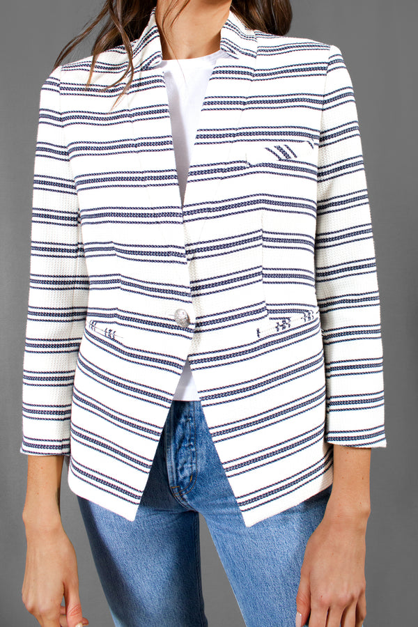 Veronica Beard Striped School Boy Blazer (Est. retail $595)