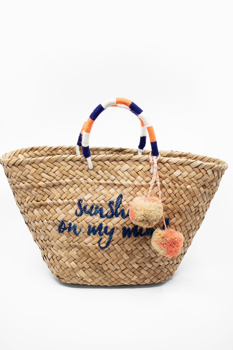 Kayu Embroidered Straw Tote Bag