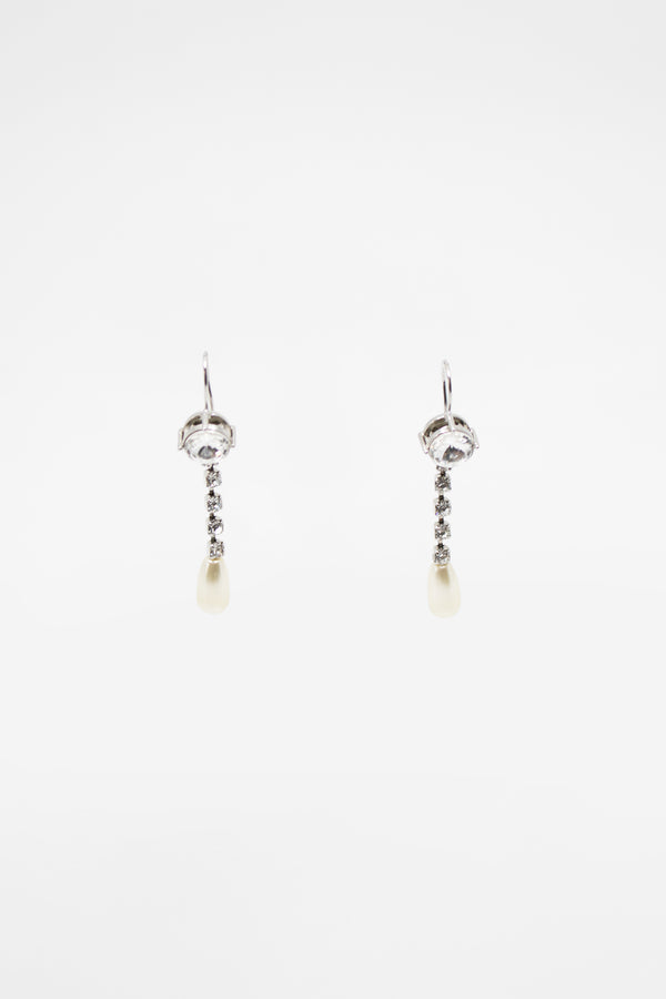 Miu Miu Crystal and Faux Pearl Pendant Earrings (Est. retail $320)