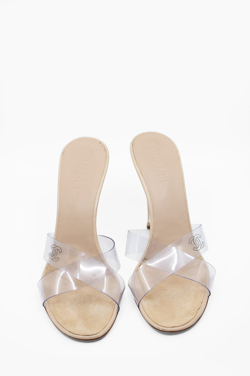 Vintage Chanel Slide PVC and Lucite Sandals