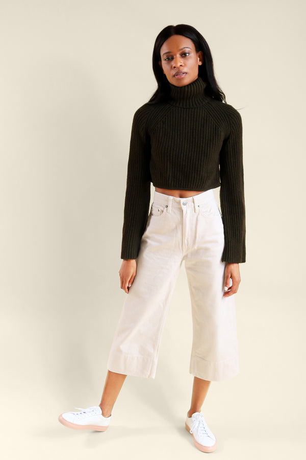 A.L.C Cropped Olive-Green Turtleneck Sweater