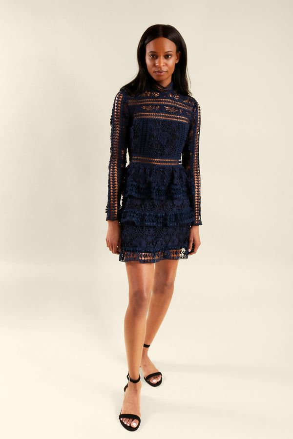 Self Portrait Navy Lace Mini Dress