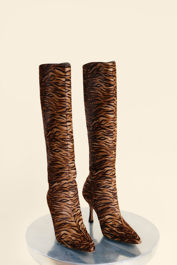 Manolo Blahnik Animal Print Calf Hair Boot (Est. retail $1,600)