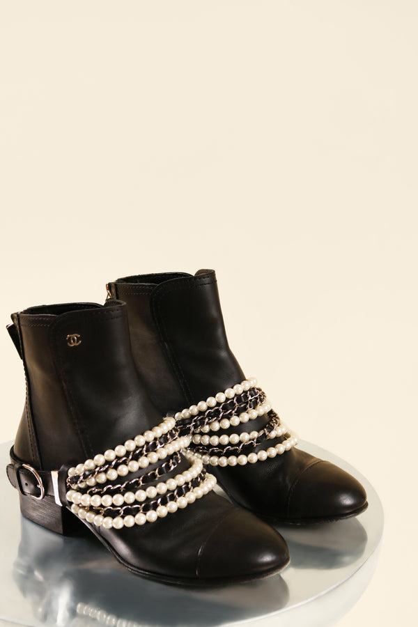 Chanel CC Chain-link and Pearl Ankle Boots