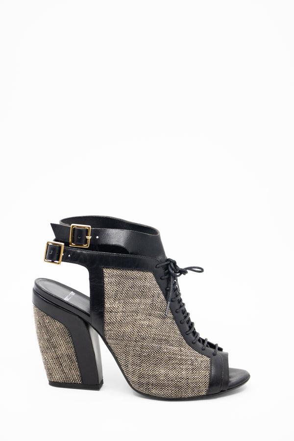 Pierre Hardy Peep Toe Tweed and Leather Booties