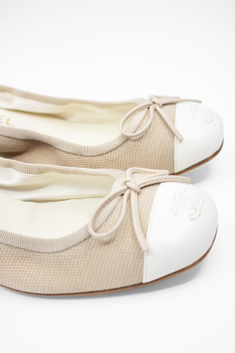 Chanel Cotton Canvas and Leather Flats | New with box