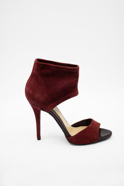 Brian Atwood Suede and Snakeskin Heeled Sandals