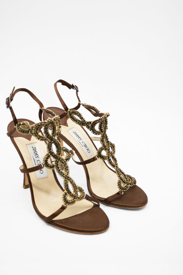 Jimmy Choo Embellished Satin Sandal
