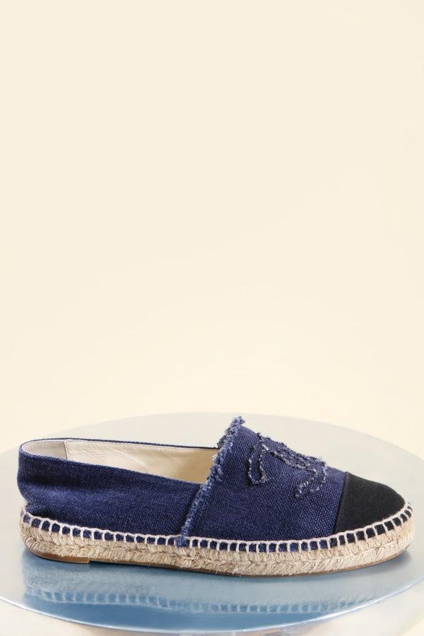 Chanel Blue Canvas Espadrille