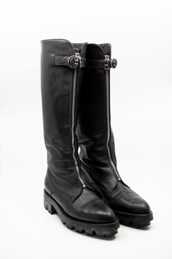 Prada Knee High Leather Zipper Boots