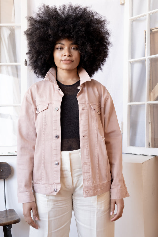 AG Pink Distressed Denim Jacket