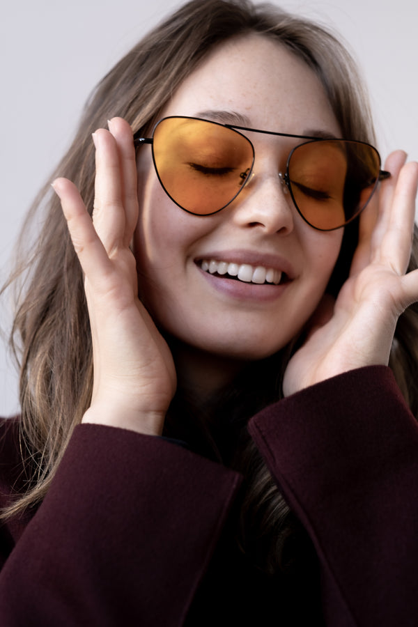 Monse x Morgenthal Frederics Orange Aviator Sunglasses