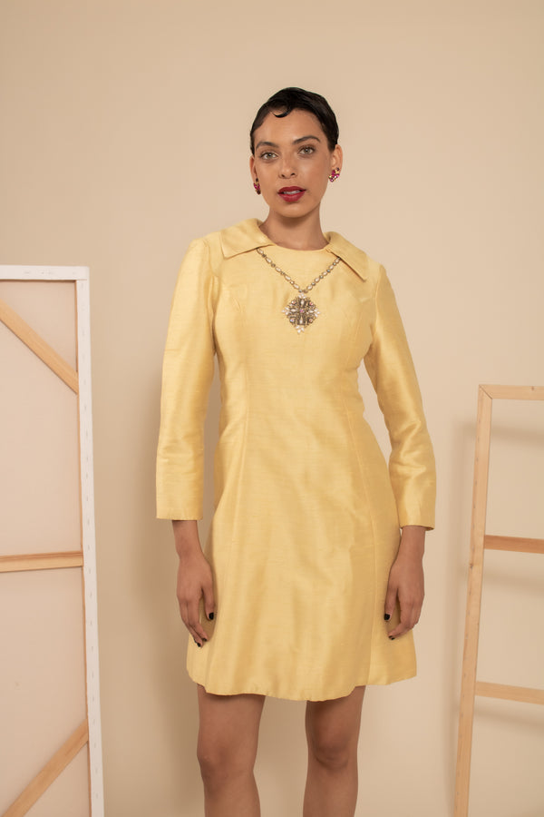 Vintage 1960s Yellow silk Dress by Stephenson & Company
