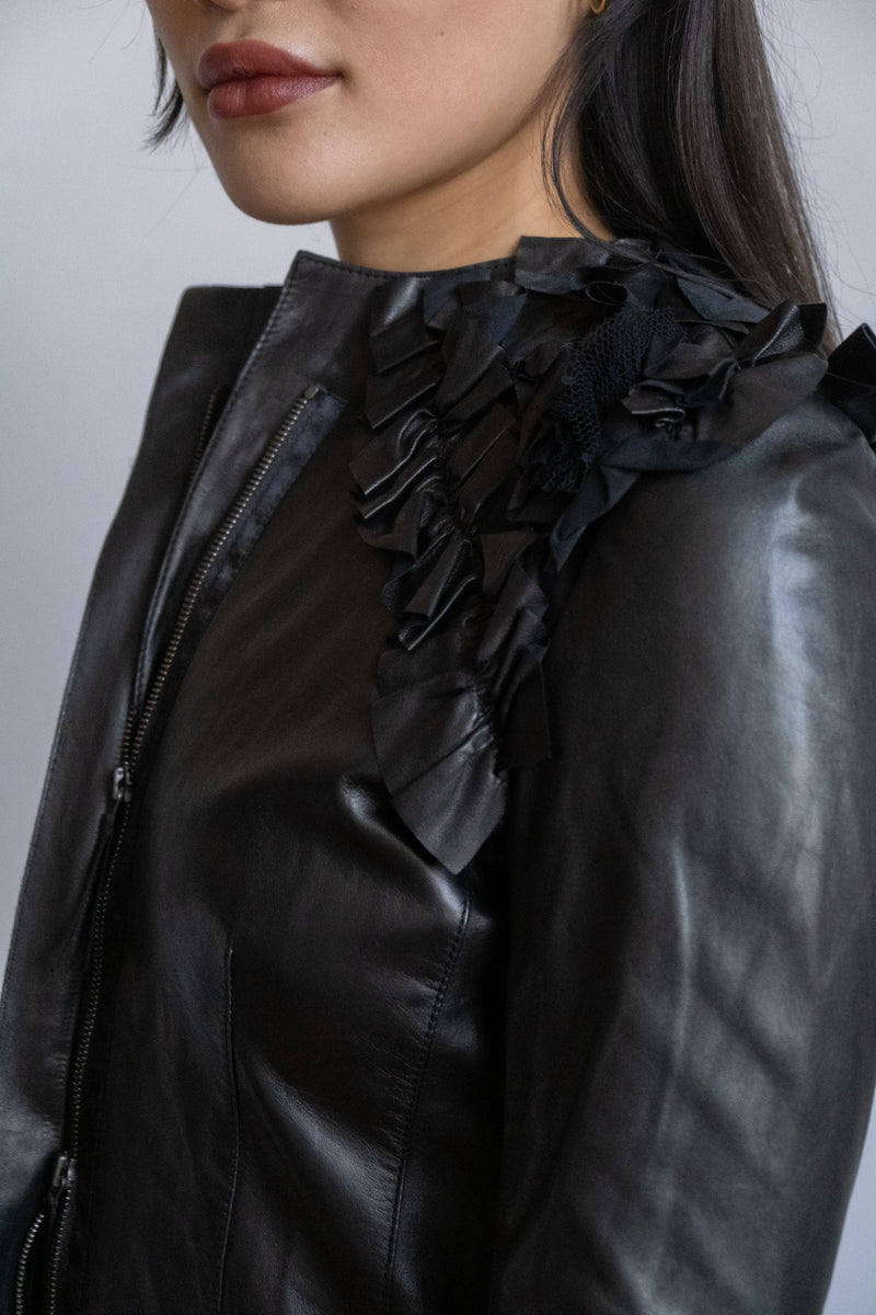 Valentino Ruffle-Trimmed Leather Jacket