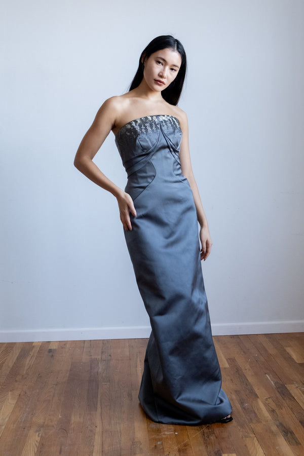 Zac Posen Embellished Satin Strapless Gown | New with tags (Est. retail $4,590)