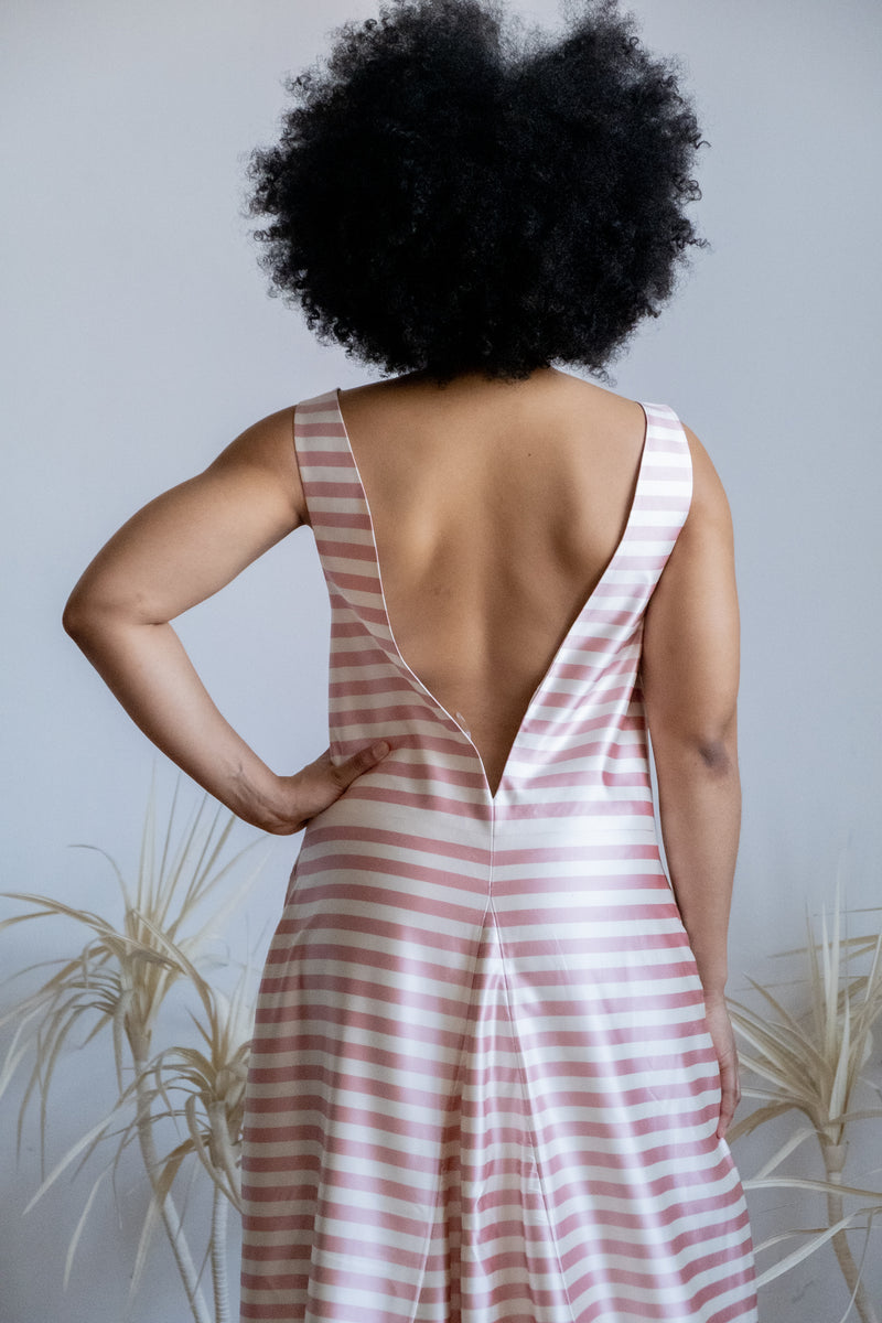 Katie Ermilio Striped Silk Gown with Train