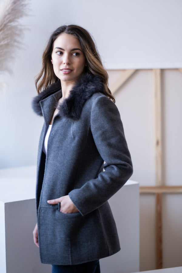Max Mara Angora and Virgin Wool Coat with Fur Collar