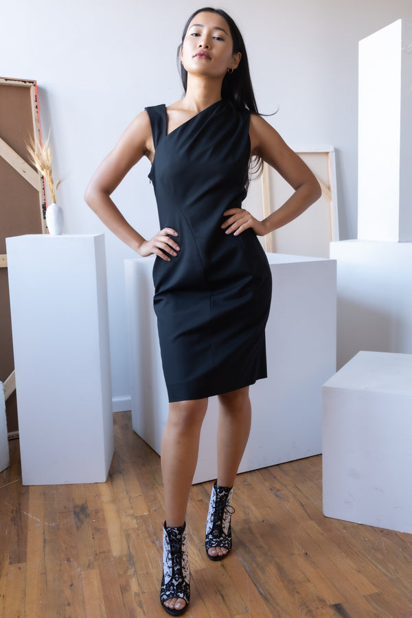 Carolina Herrera Sheath Dress with Asymmetric Neckline