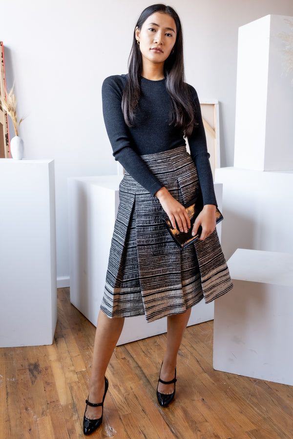 Carolina Herrera Striped Wool-Blend Skirt
