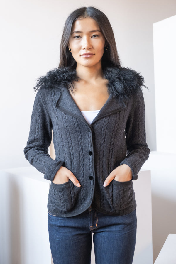 Lanvin Cardigan with Mongolia Fur Collar
