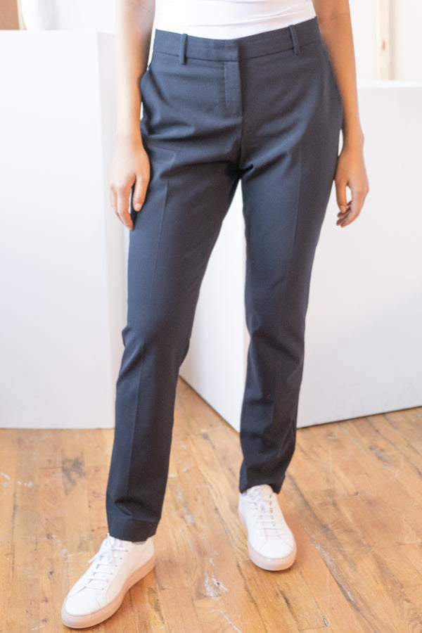 Theory Tailored Wool-Blend Navy Pants