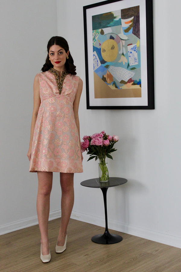 Vintage 1960s Pink Brocade Beaded Dress