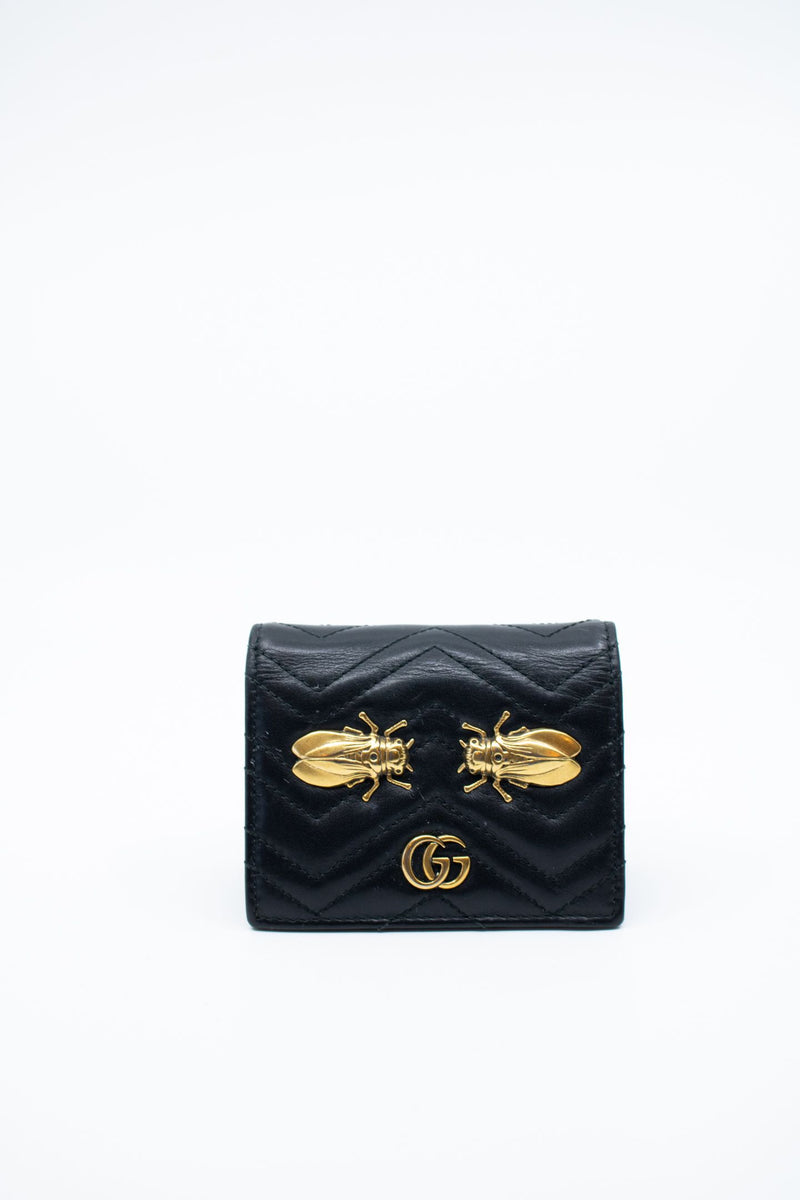 Gucci Matelasse GG Marmont Cicada Stud Card Case