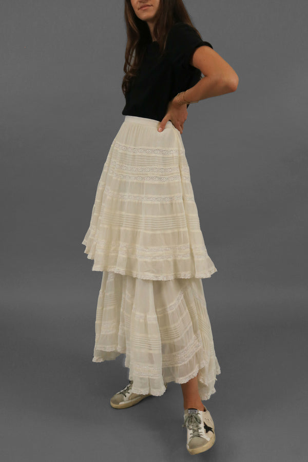 LoveShackFancy Lace-Trimmed Skirt