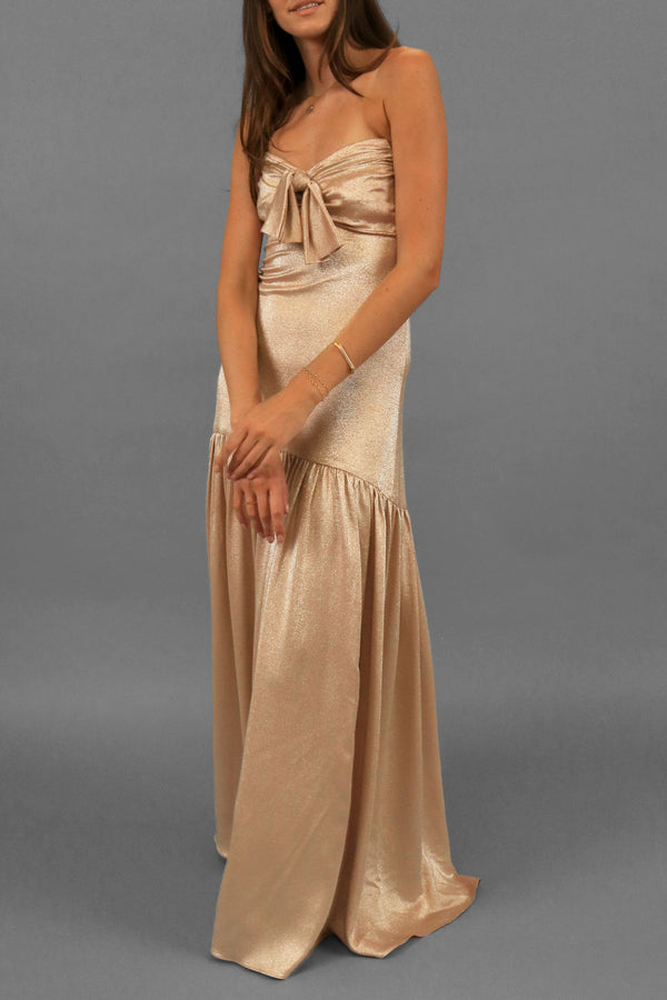 Caroline Constas Metallic Evening Gown