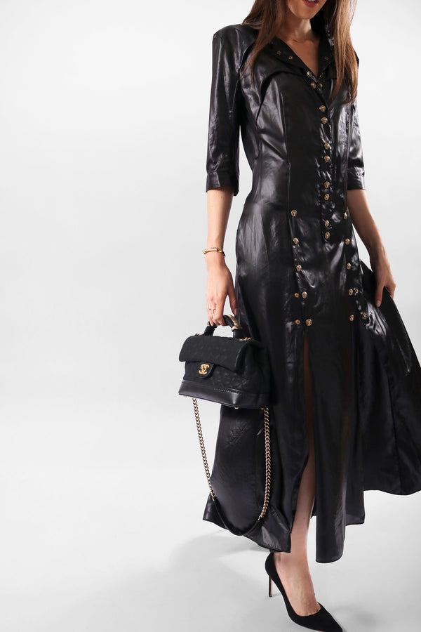 Balmain Long Dress with Gold Buttons